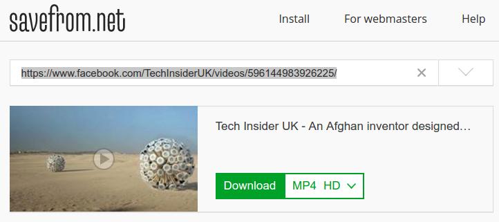 paste url -- Download Facebook Video in a click