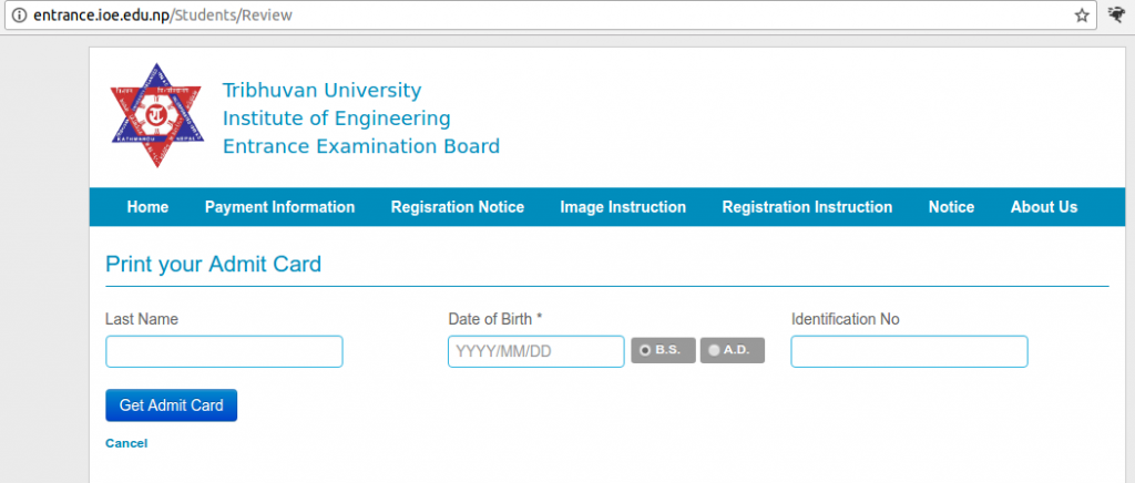 Admit Card You can print your Admit Card if your registration form has been accepted. Print Your Admit Card