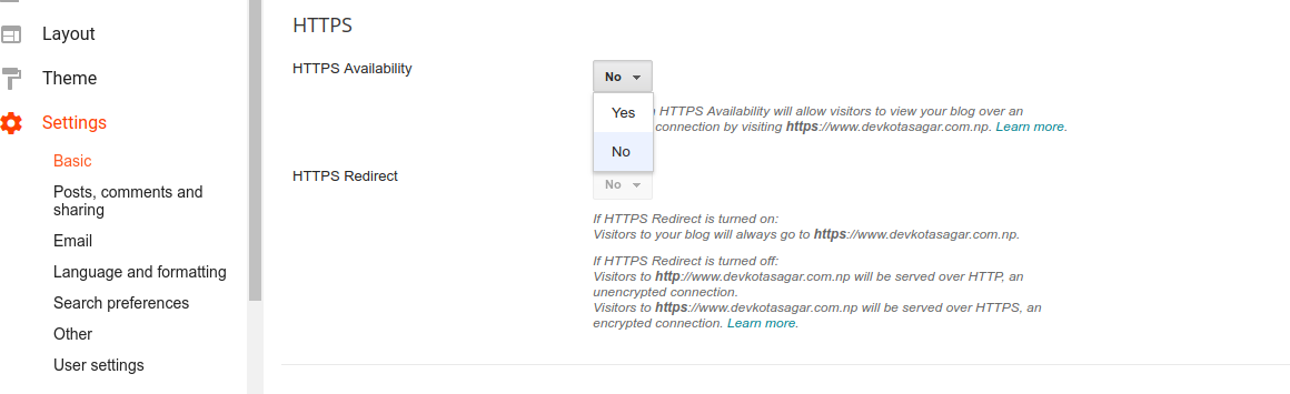 How to Enable HTTPS in Custom Domain? -- Image showing settings