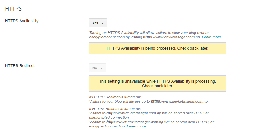 HTTPS Availability is being processed. -- How to Enable HTTPS in Custom Domain?