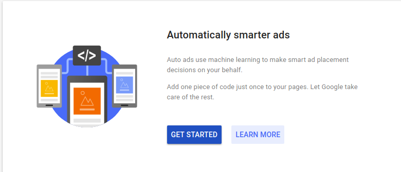 Google AdSense with new Auto ads -- Get started page