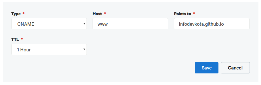 Custom Domain in GitHub Page Support HTTPS Adding A Cname Record for Sub domain