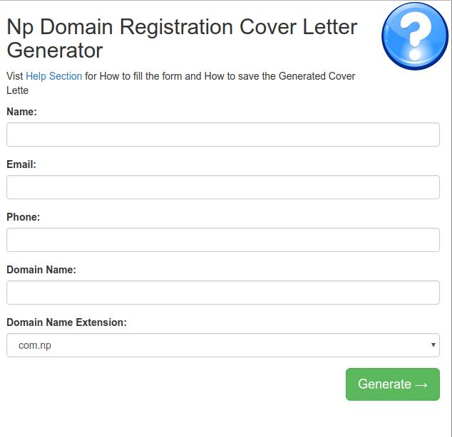 Image of np domian registration Cover letter Generator website