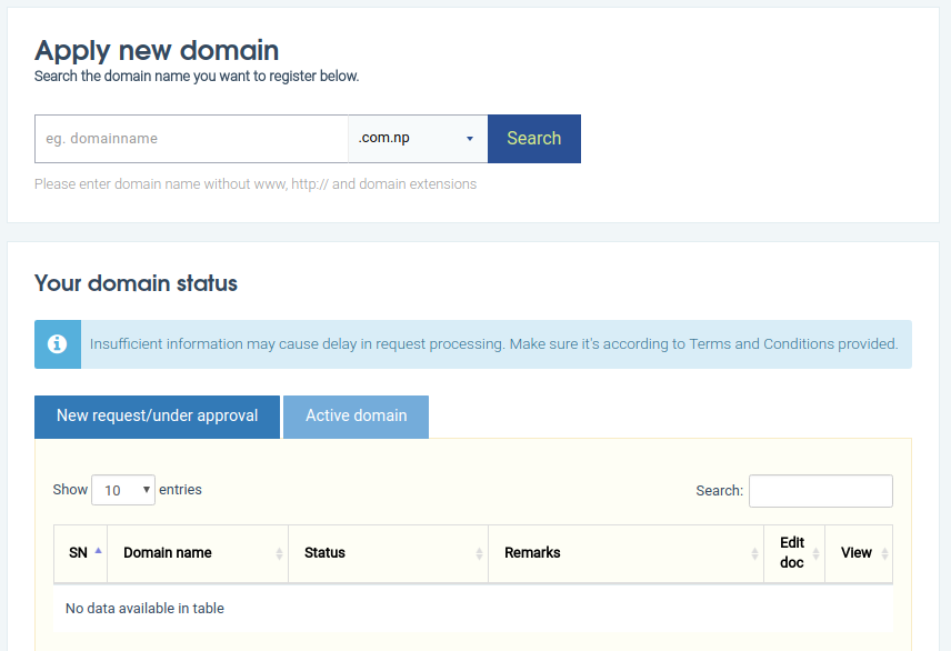 Image form .np Domain Registration in Nepal With Apply New and Domain Status Dashboard after successful login