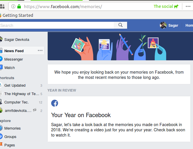 Image showing memories page, with year in review section.
